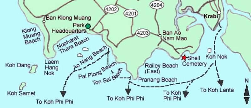 Mapa de Krabi y sus playas