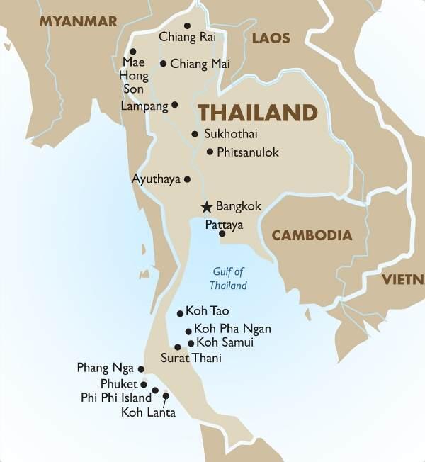 Mapa De Tailandia Y Sus Ciudades Mas Importantes Siamtrails
