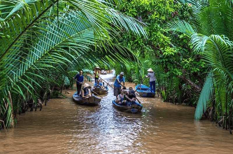 un paseo en barca Delta del Mekong