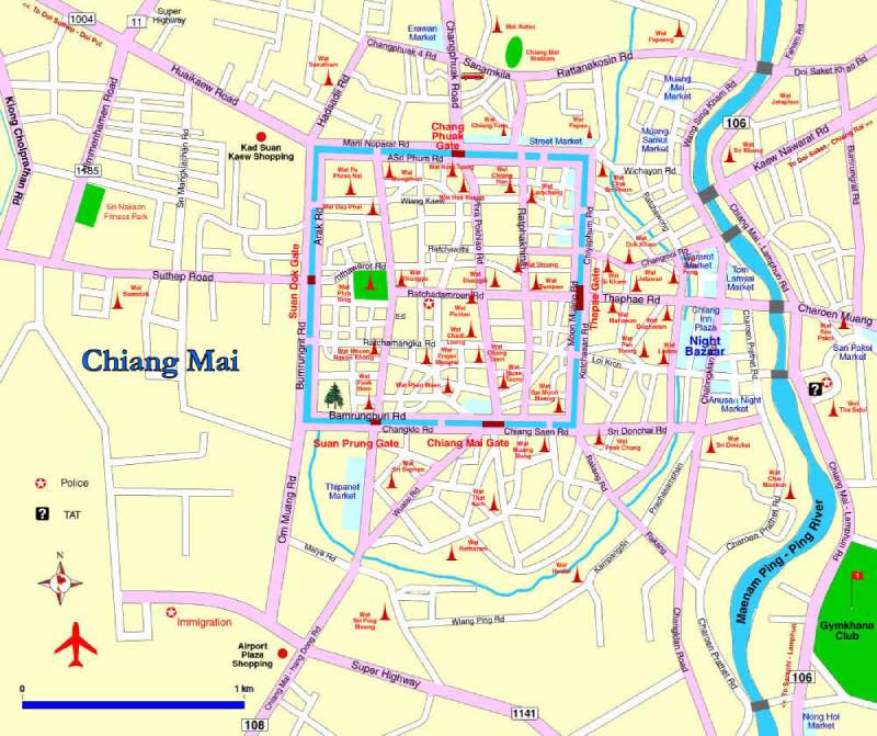 Mapa del centro Chiang Mai