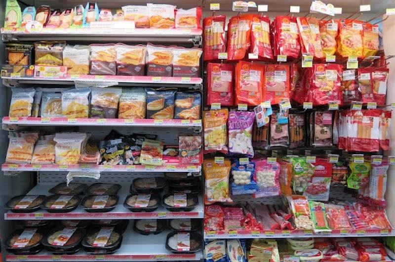 Productos de alimentación en supermercados 7-11 tailandia