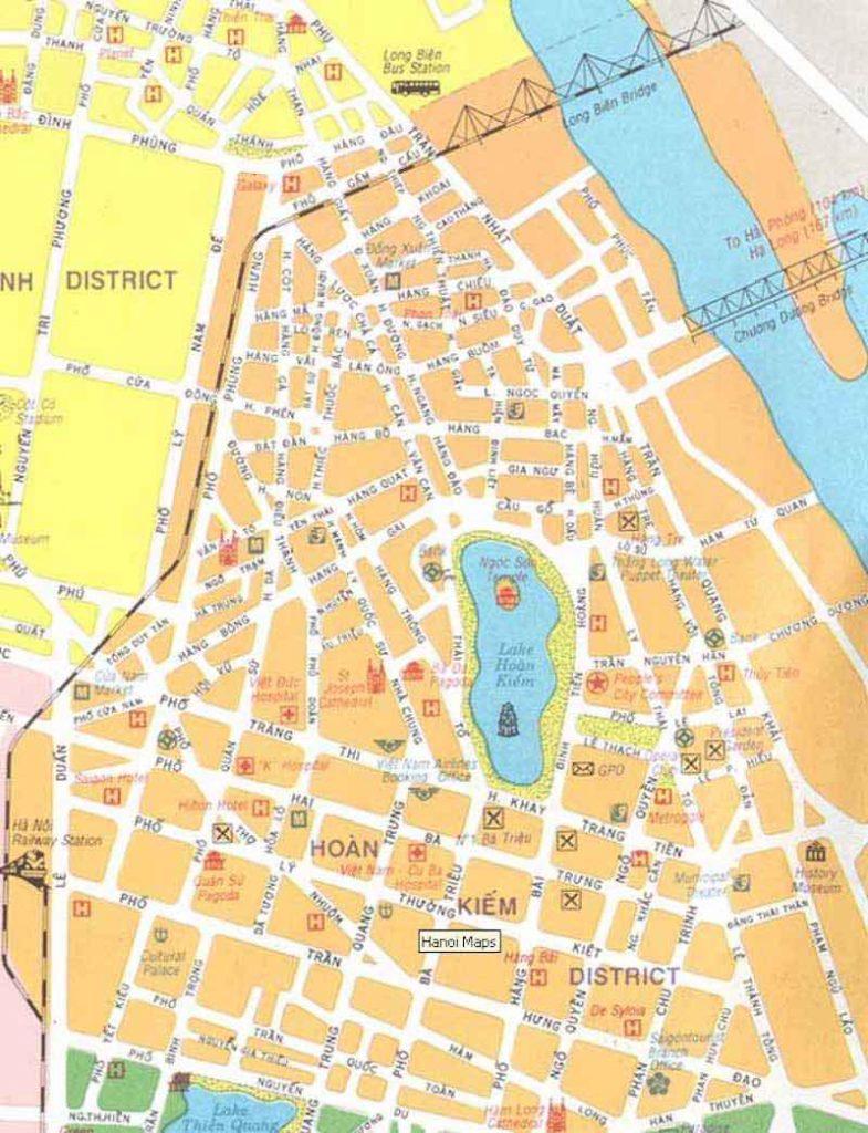 Mapa Hanoi distrito Lago Hoan Kiem