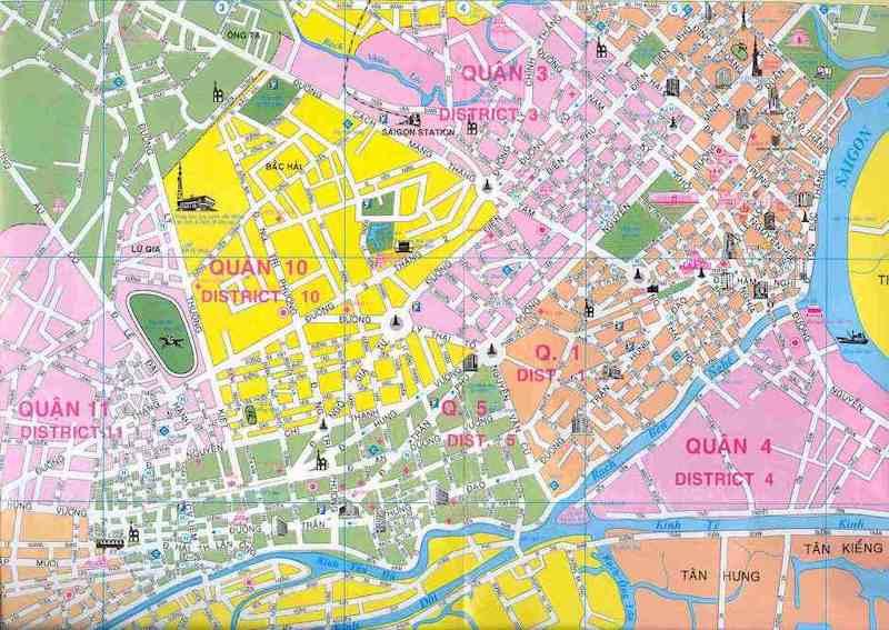 Mapa de Ho Chi Minh la antigua Saigon